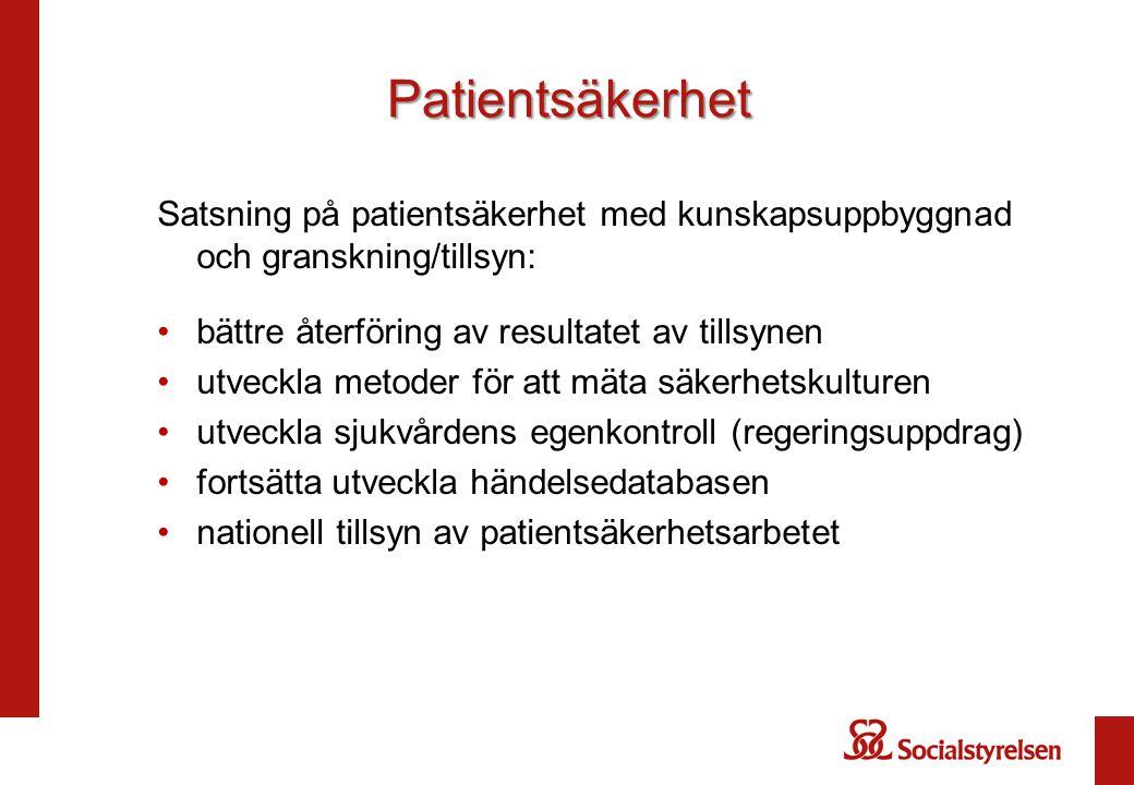 Patientsäkerhet Satsning på patientsäkerhet med kunskapsuppbyggnad och granskning/tillsyn: bättre återföring av resultatet av tillsynen utveckla metod