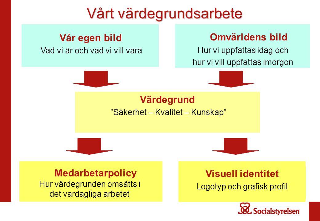 """Värdegrund """"Säkerhet – Kvalitet – Kunskap"""" Medarbetarpolicy Hur värdegrunden omsätts i det vardagliga arbetet Visuell identitet Logotyp och grafisk pr"""