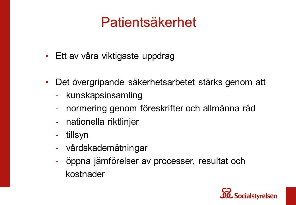 Patientsäkerhet Ett av våra viktigaste uppdrag Det övergripande säkerhetsarbetet stärks genom att - kunskapsinsamling - normering genom föreskrifter o