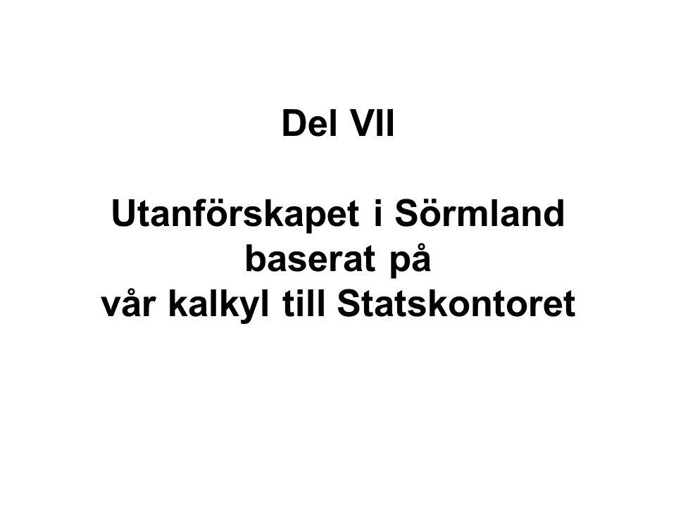 Del VII Utanförskapet i Sörmland baserat på vår kalkyl till Statskontoret