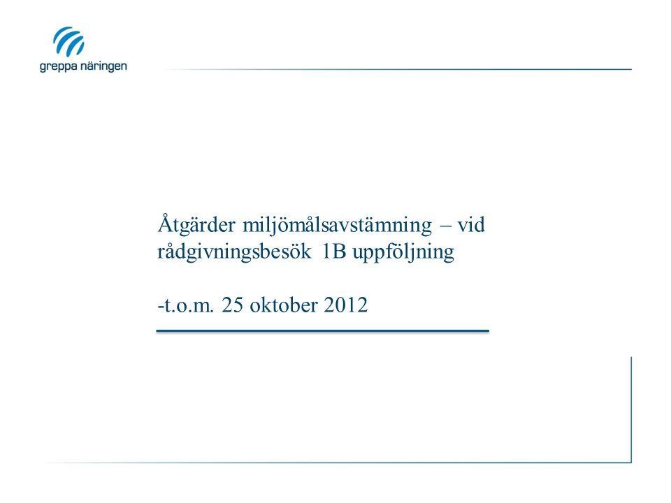 Åtgärder miljömålsavstämning – vid rådgivningsbesök 1B uppföljning -t.o.m. 25 oktober 2012