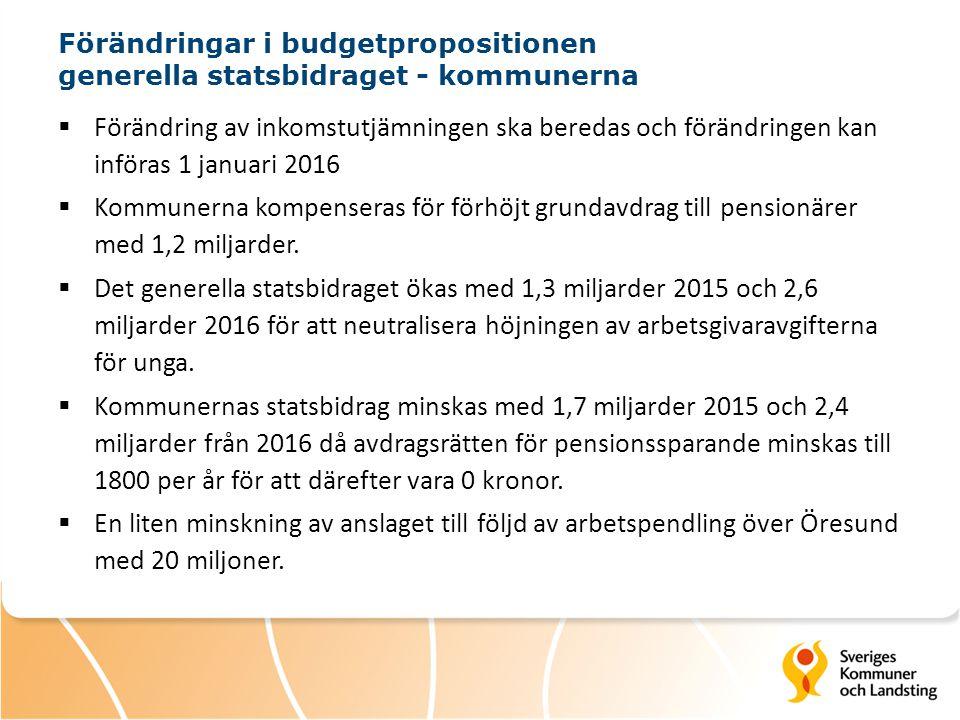 Förändringar i budgetpropositionen generella statsbidraget - kommunerna  Förändring av inkomstutjämningen ska beredas och förändringen kan införas 1 januari 2016  Kommunerna kompenseras för förhöjt grundavdrag till pensionärer med 1,2 miljarder.