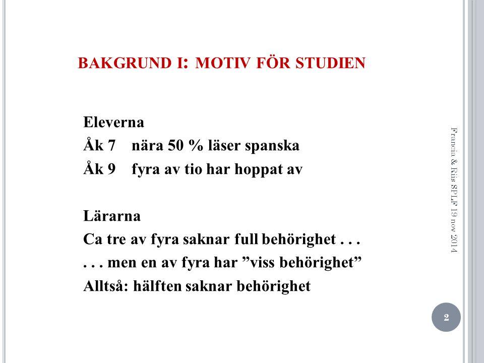 BAKGRUND I : MOTIV FÖR STUDIEN Eleverna Åk 7 nära 50 % läser spanska Åk 9 fyra av tio har hoppat av Lärarna Ca tre av fyra saknar full behörighet......
