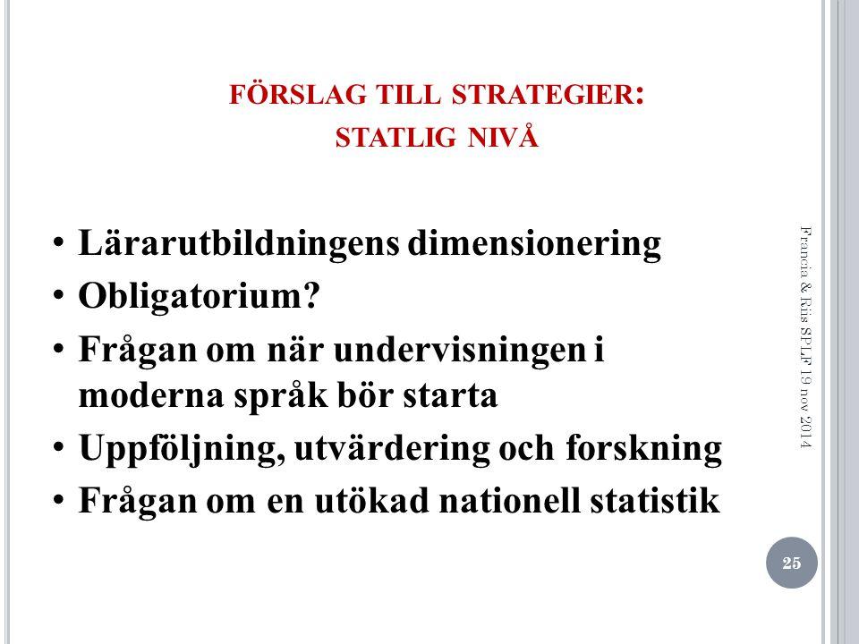 FÖRSLAG TILL STRATEGIER : STATLIG NIVÅ Lärarutbildningens dimensionering Obligatorium.