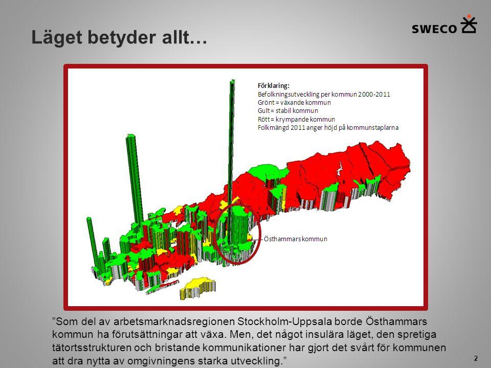 """Läget betyder allt… 2 """"Som del av arbetsmarknadsregionen Stockholm-Uppsala borde Östhammars kommun ha förutsättningar att växa. Men, det något insulär"""