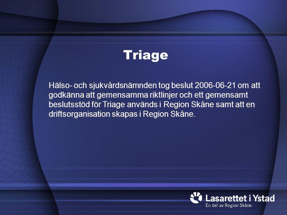 Organisation Triage Medicinsk- Revisionsgrupp Triagehandboken IT–utveckling Triagehandboken RGS-bas Digitaliserad utb.