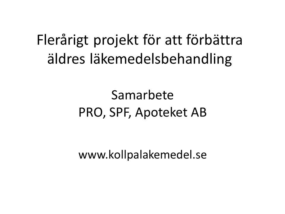 Flerårigt projekt för att förbättra äldres läkemedelsbehandling Samarbete PRO, SPF, Apoteket AB www.kollpalakemedel.se
