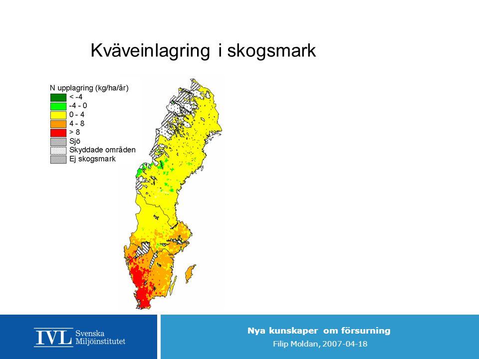 Nya kunskaper om försurning Filip Moldan, 2007-04-18 Kväveinlagring i skogsmark