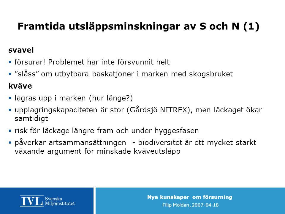 Nya kunskaper om försurning Filip Moldan, 2007-04-18 Framtida utsläppsminskningar av S och N (1) svavel  försurar! Problemet har inte försvunnit helt