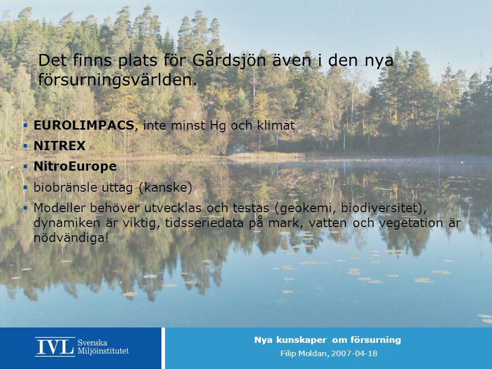 Nya kunskaper om försurning Filip Moldan, 2007-04-18 Det finns plats för Gårdsjön även i den nya försurningsvärlden.  EUROLIMPACS, inte minst Hg och