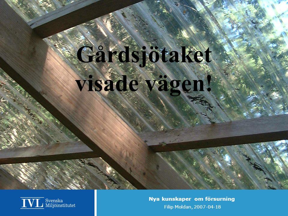Nya kunskaper om försurning Filip Moldan, 2007-04-18 Gårdsjötaket visade vägen!