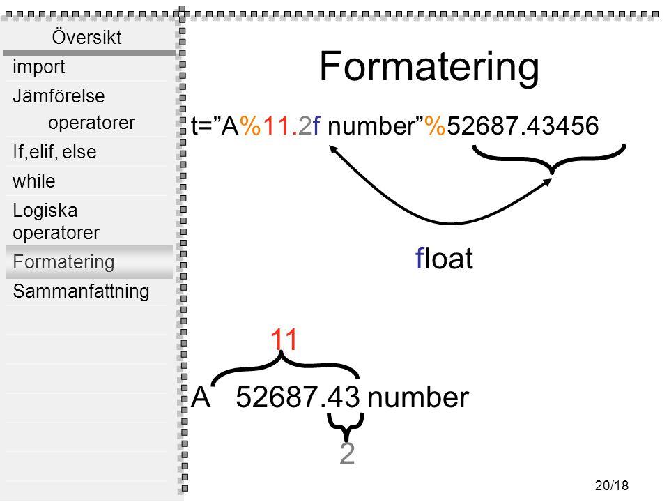 Översikt import Jämförelse operatorer If,elif, else while Logiska operatorer Formatering Sammanfattning 20/18 Formatering t= A%11.2f number %52687.43456 A 52687.43 number 11 2 float