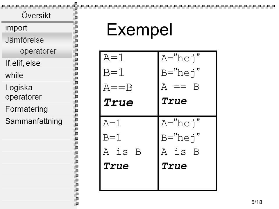 Översikt import Jämförelse operatorer If,elif, else while Logiska operatorer Formatering Sammanfattning 5/18 Exempel A=1 B=1 A==B True A=1 B=1 A is B True A= hej B= hej A is B True A= hej B= hej A == B True