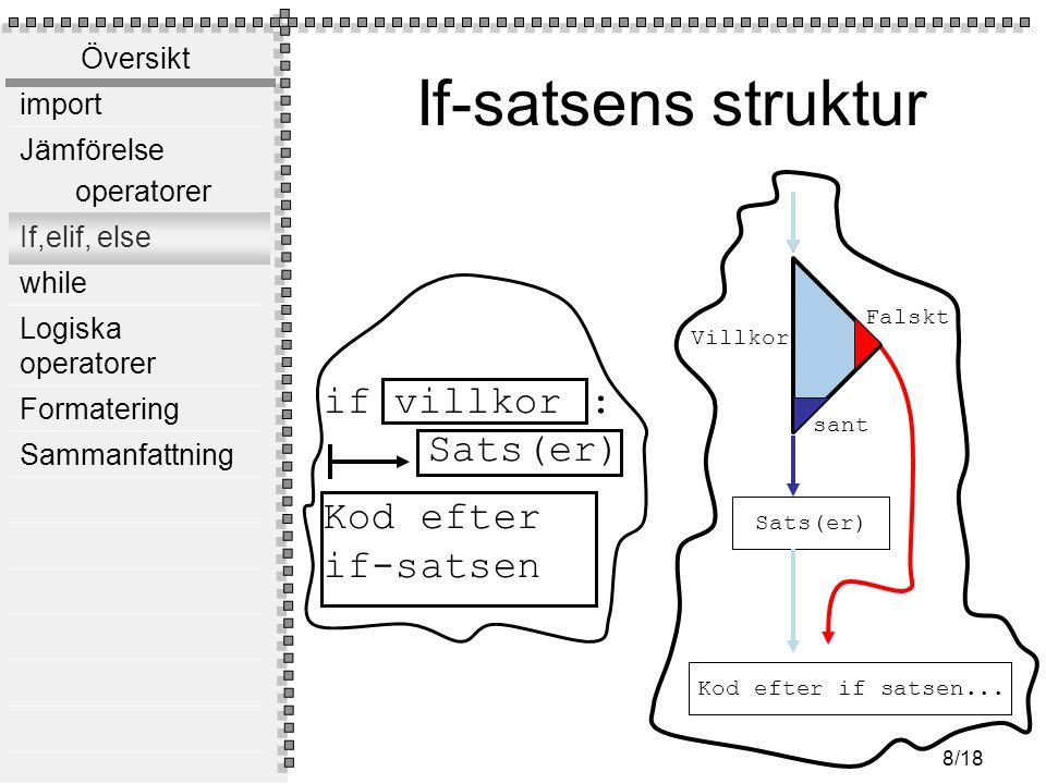 Översikt import Jämförelse operatorer If,elif, else while Logiska operatorer Formatering Sammanfattning 8/18 If-satsens struktur Sats(er) Kod efter if satsen...
