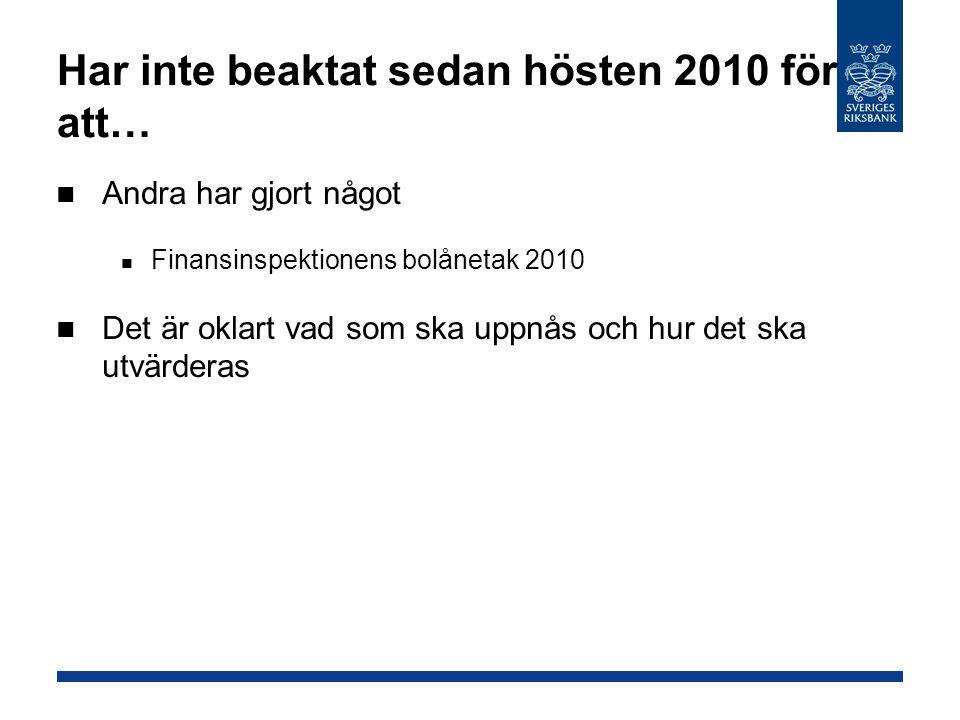 Har inte beaktat sedan hösten 2010 för att… Andra har gjort något Finansinspektionens bolånetak 2010 Det är oklart vad som ska uppnås och hur det ska utvärderas