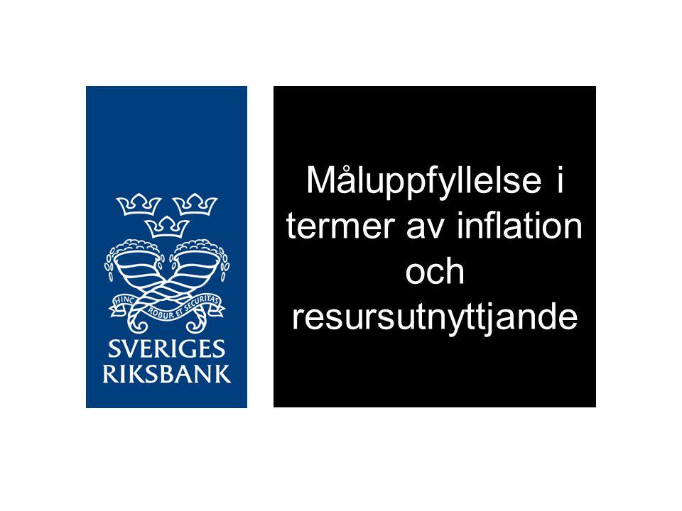 Måluppfyllelse i termer av inflation och resursutnyttjande