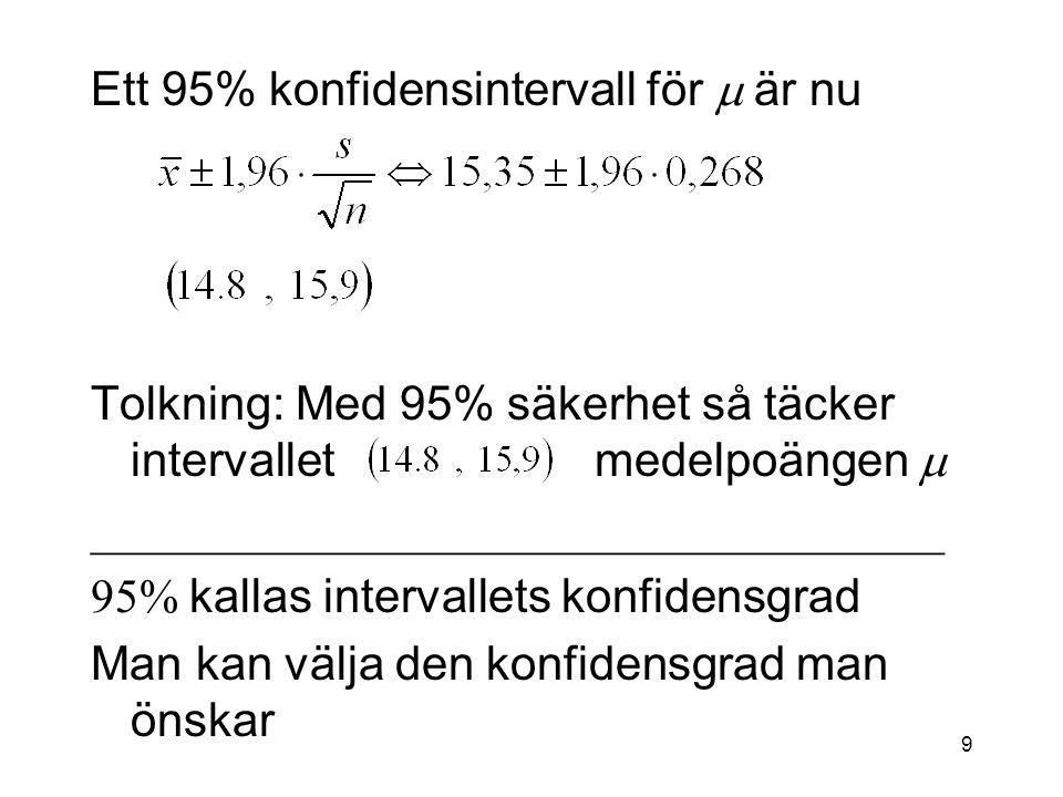 9 Ett 95% konfidensintervall för  är nu Tolkning: Med 95% säkerhet så täcker intervallet medelpoängen    kallas intervallets konfidensgrad Man kan välja den konfidensgrad man önskar