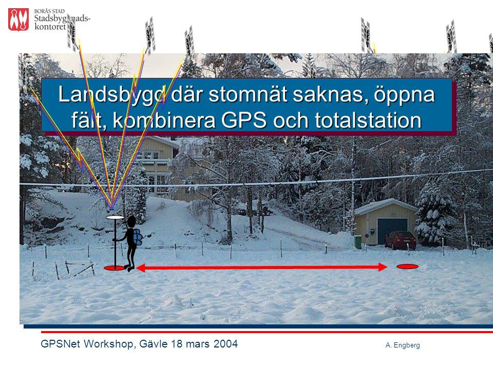 Landsbygd där stomnät saknas, öppna fält, kombinera GPS och totalstation