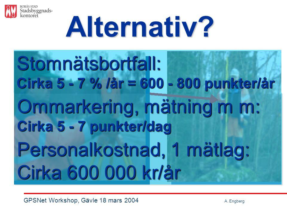 Stomnätsbortfall: Cirka 5 - 7 % /år = 600 - 800 punkter/år Ommarkering, mätning m m: Cirka 5 - 7 punkter/dag Ommarkering, mätning m m: Cirka 5 - 7 punkter/dag Personalkostnad, 1 mätlag: Cirka 600 000 kr/år Personalkostnad, 1 mätlag: Cirka 600 000 kr/år Alternativ.