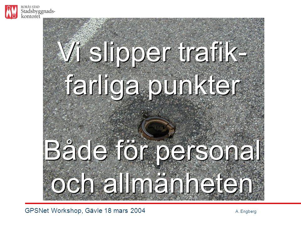 Vi slipper trafik- farliga punkter Vi slipper trafik- farliga punkter Både för personal och allmänheten Både för personal och allmänheten GPSNet Workshop, Gävle 18 mars 2004 A.