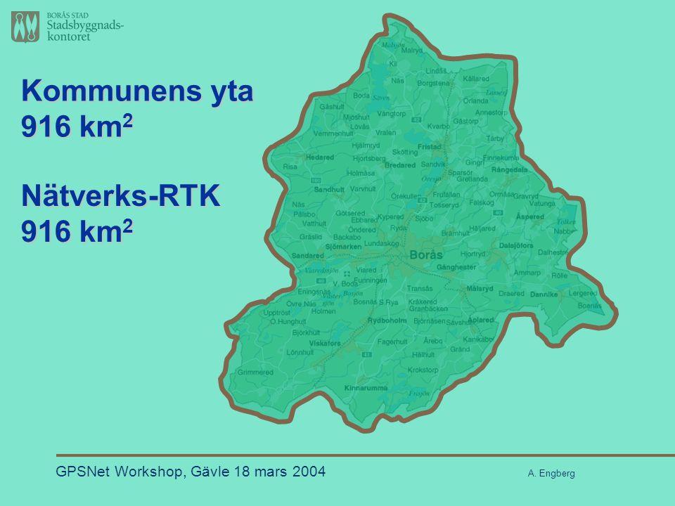 Nätverks-RTK Kommunens yta 916 km 2 GPSNet Workshop, Gävle 18 mars 2004 A. Engberg