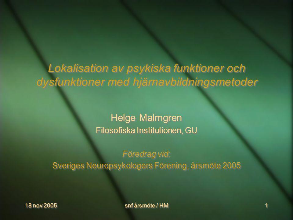 18 nov 2005snf årsmöte / HM2 Cerebral lokalisation: gamla och nya problem  Specialisering i hjärnan: från frenologin, via ekvipotentialitet , till mormorsneuronet  Var ska vi lokalisera vs Vad ska vi lokalisera.