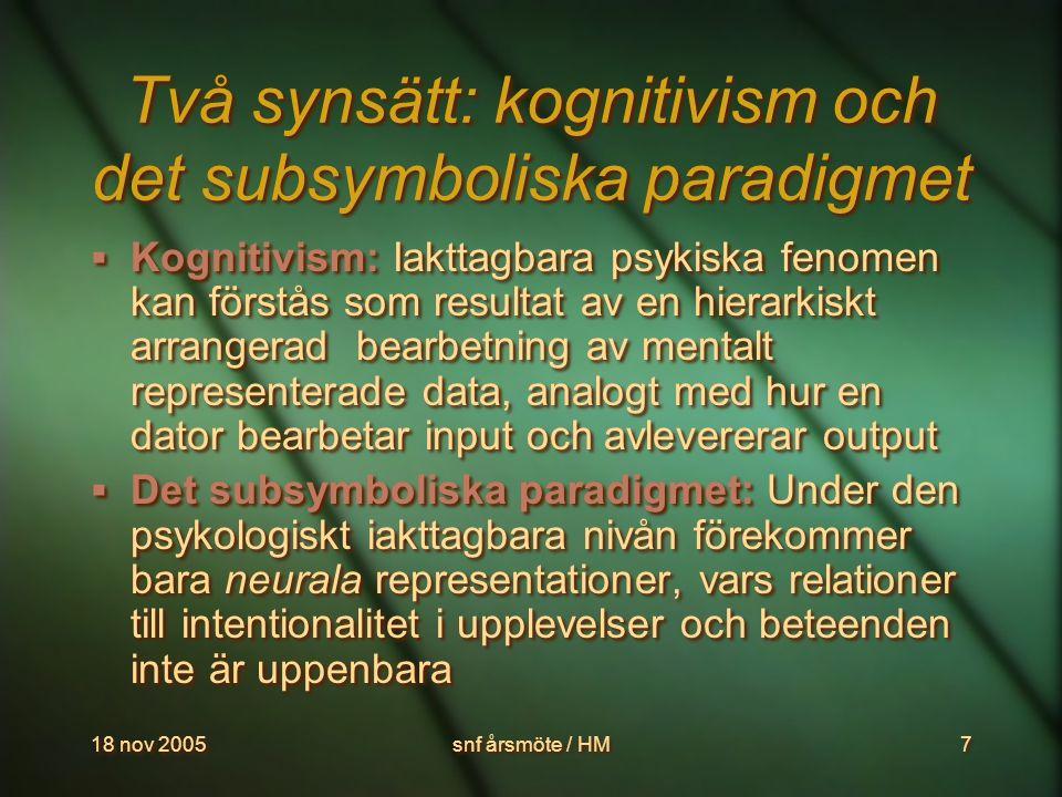 18 nov 2005snf årsmöte / HM8 Hur ska psykiska fenomen förklaras.
