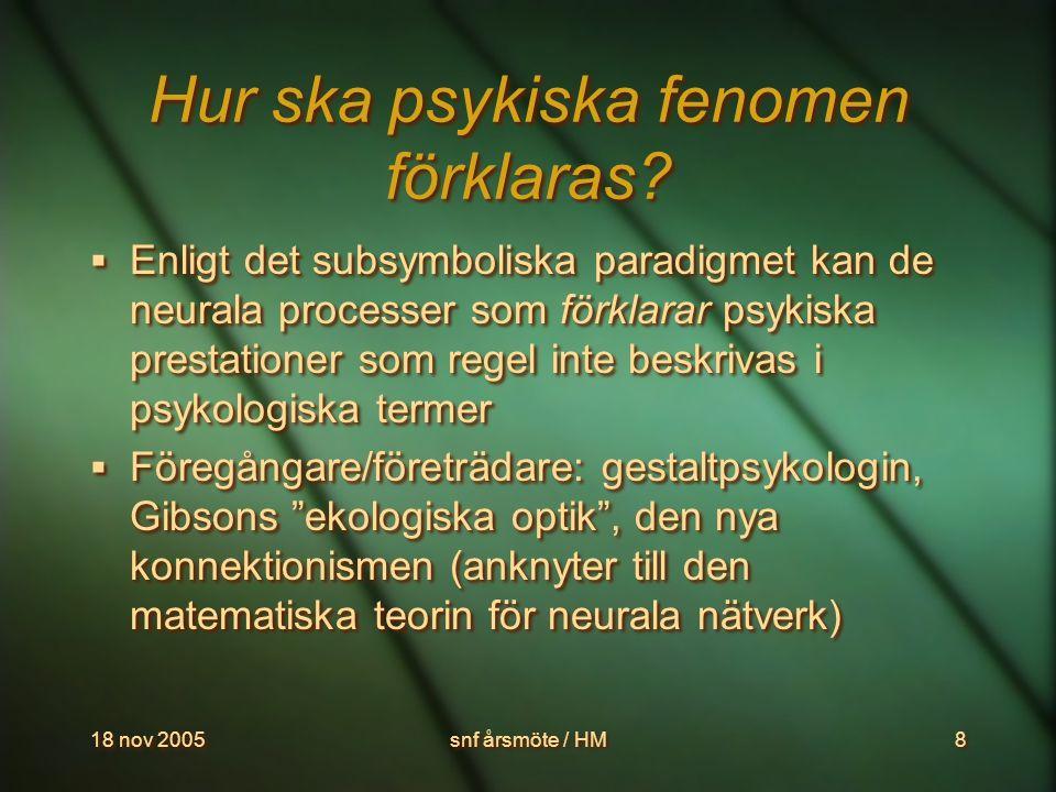 18 nov 2005snf årsmöte / HM9 Därför kan vi inte lokalisera psykiska funktioner  De mekanismer som ligger bakom våra psykiska prestationer kan, med hänsyn tagen till kända svårigheter (interaktion, redundans etc), i princip lokaliseras i hjärnan.