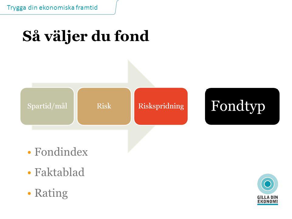 Trygga din ekonomiska framtid Så väljer du fond Fondindex Faktablad Rating Fondtyp
