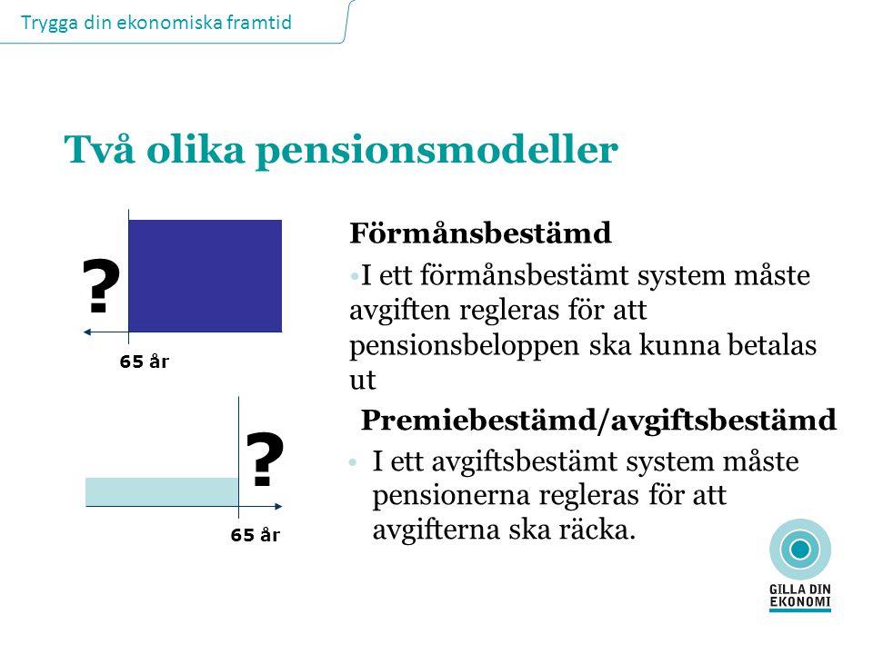 Trygga din ekonomiska framtid Två olika pensionsmodeller Förmånsbestämd I ett förmånsbestämt system måste avgiften regleras för att pensionsbeloppen s