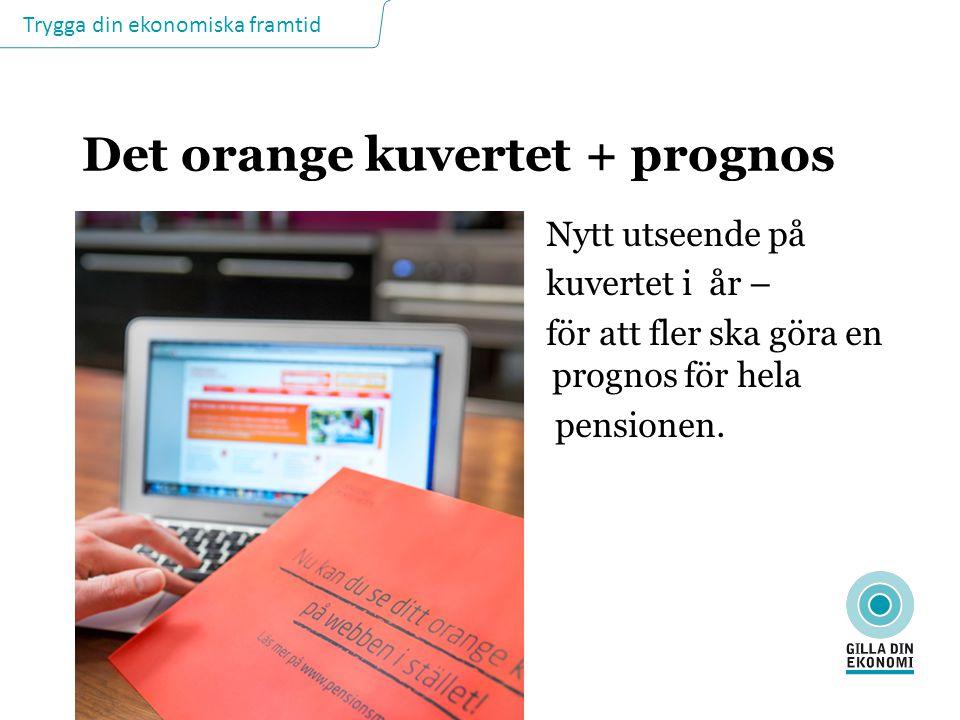 Trygga din ekonomiska framtid Det orange kuvertet + prognos Nytt utseende på kuvertet i år – för att fler ska göra en pro prognos för hela pensionen.