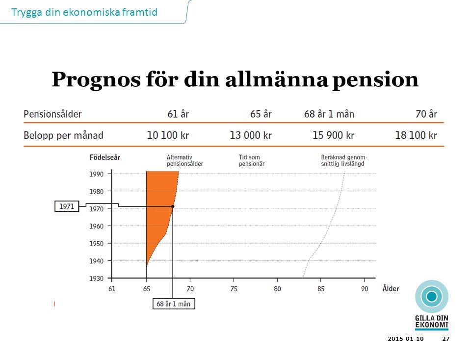 Trygga din ekonomiska framtid 27 2015-01-10 Prognos för din allmänna pension