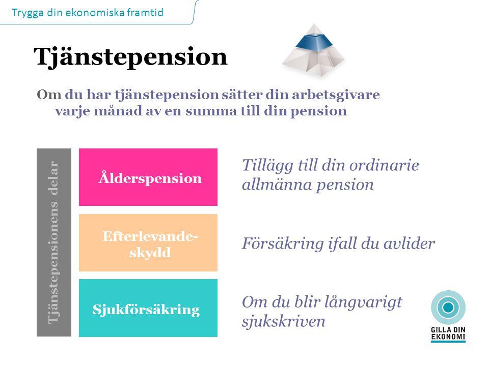 Trygga din ekonomiska framtid Tjänstepension Om du har tjänstepension sätter din arbetsgivare varje månad av en summa till din pension Tjänstepensione