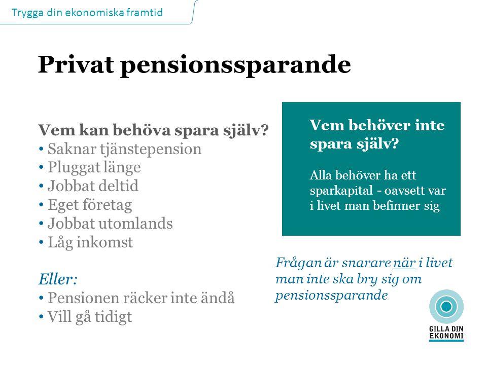 Trygga din ekonomiska framtid Privat pensionssparande Vem kan behöva spara själv? Saknar tjänstepension Pluggat länge Jobbat deltid Eget företag Jobba