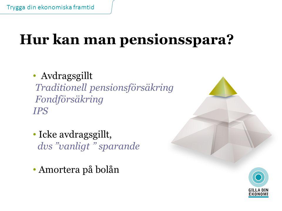 """Trygga din ekonomiska framtid Hur kan man pensionsspara? Avdragsgillt Traditionell pensionsförsäkring Fondförsäkring IPS Icke avdragsgillt, dvs """"vanli"""