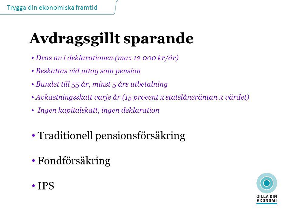 Trygga din ekonomiska framtid Avdragsgillt sparande Dras av i deklarationen (max 12 000 kr/år) Beskattas vid uttag som pension Bundet till 55 år, mins