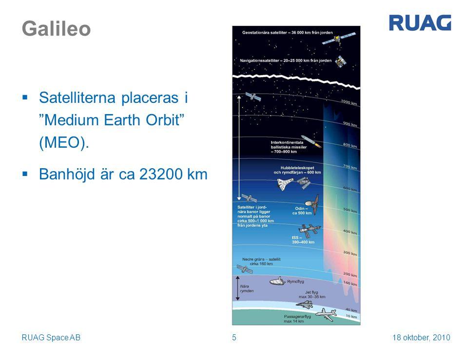 18 oktober, 2010RUAG Space AB16 Summering  Nuvarande åtagande omfattar uppskjutning av de första fyra Galileosatelliterna, In Orbit Validation (IOV)  Strukturkvalifikationsmodell (QM) är tillverkad och det statiska testet har genomförts med goda resultat  Fit-check med första IOV-satelliten (PFM) planerad Januari 2011  Första uppskjutning Q3 2011  RUAG Space är väl placerat för att leverera dispensrar även till resterande Galileosatelliter i nästa fas, Full Orbit Constellation (FOC)