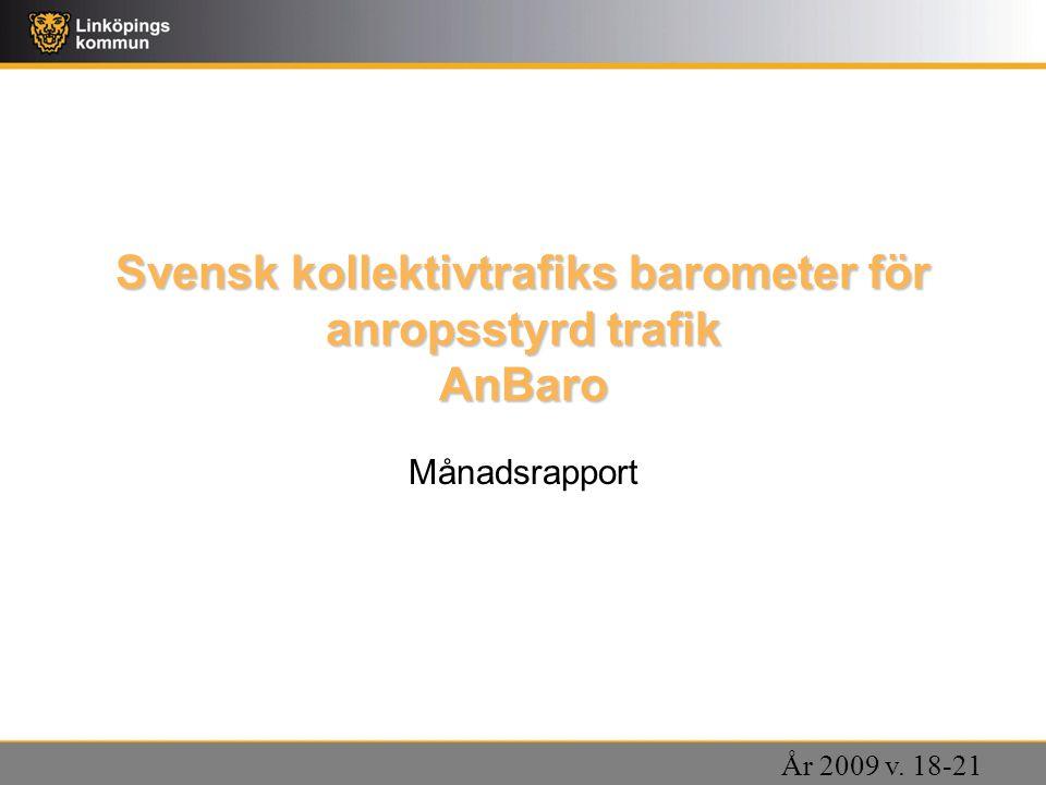 Svensk kollektivtrafiks barometer för anropsstyrd trafik AnBaro Månadsrapport År 2009 v. 18-21