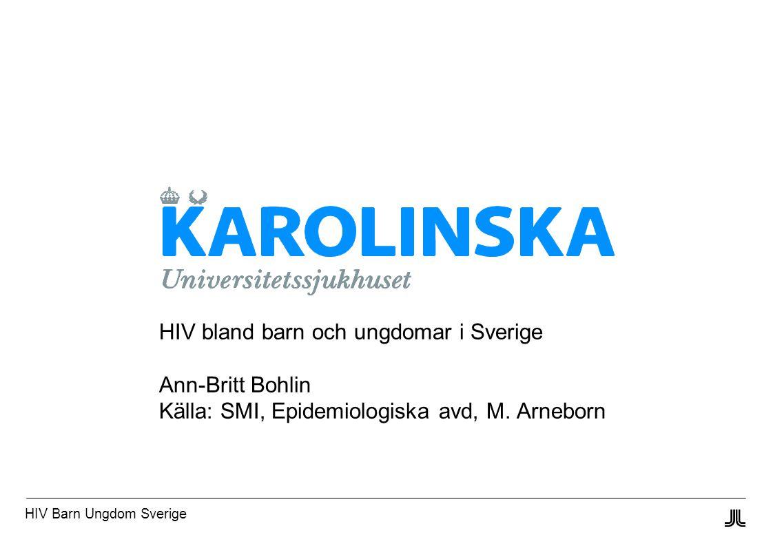 HIV Barn Ungdom Sverige HIV bland barn och ungdomar i Sverige Ann-Britt Bohlin Källa: SMI, Epidemiologiska avd, M.