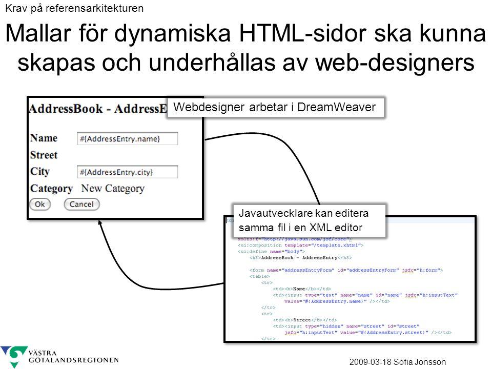 2009-03-18 Sofia Jonsson Mallar för dynamiska HTML-sidor ska kunna skapas och underhållas av web-designers NetWeaver Webdesigner arbetar i DreamWeaver Javautvecklare kan editera samma fil i en XML editor Krav på referensarkitekturen