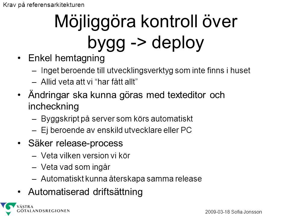 2009-03-18 Sofia Jonsson Möjliggöra kontroll över bygg -> deploy Enkel hemtagning –Inget beroende till utvecklingsverktyg som inte finns i huset –Alli