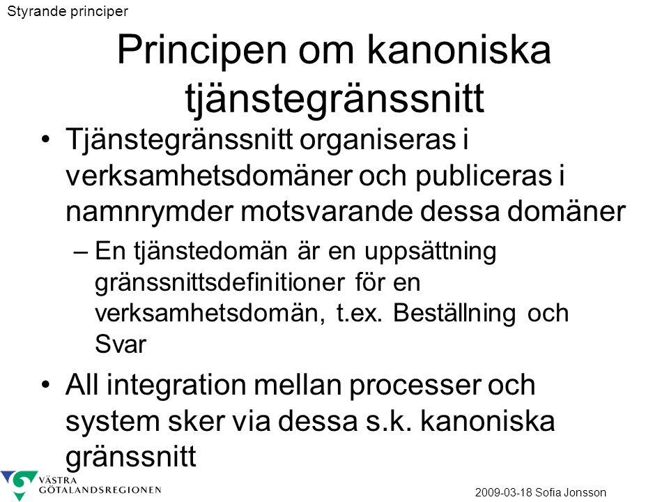 2009-03-18 Sofia Jonsson Principen om kanoniska tjänstegränssnitt Tjänstegränssnitt organiseras i verksamhetsdomäner och publiceras i namnrymder motsvarande dessa domäner –En tjänstedomän är en uppsättning gränssnittsdefinitioner för en verksamhetsdomän, t.ex.