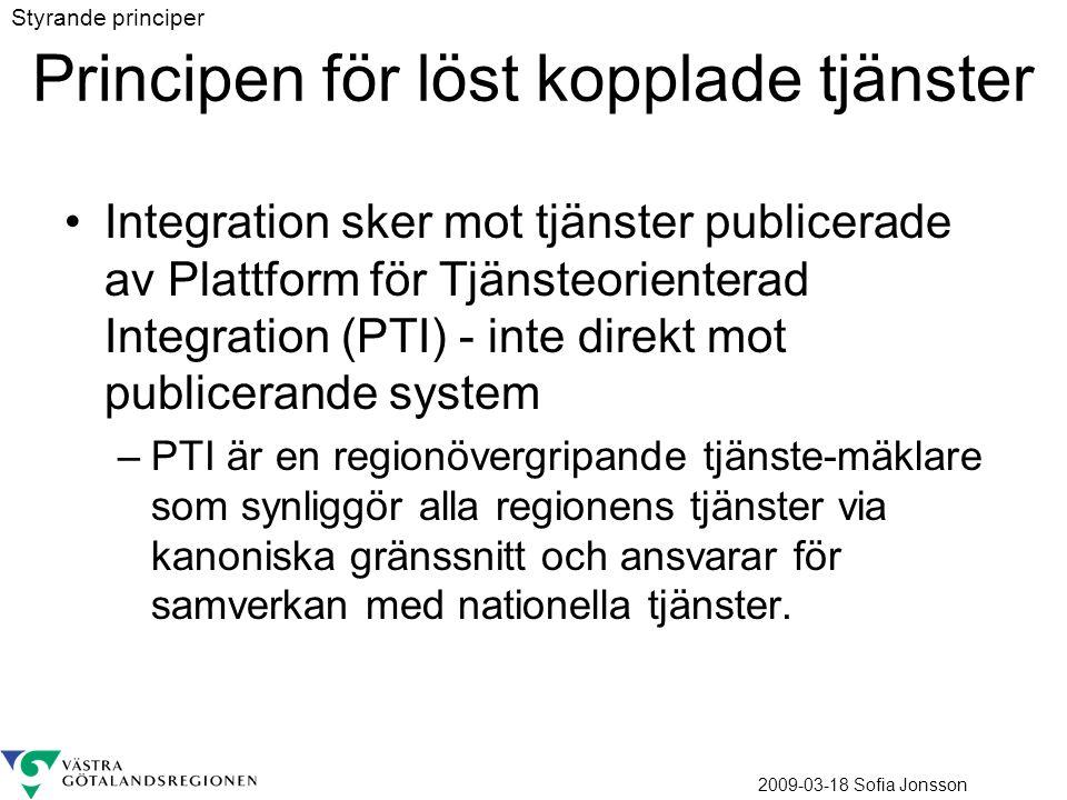 2009-03-18 Sofia Jonsson Principen för löst kopplade tjänster Integration sker mot tjänster publicerade av Plattform för Tjänsteorienterad Integration (PTI) - inte direkt mot publicerande system –PTI är en regionövergripande tjänste-mäklare som synliggör alla regionens tjänster via kanoniska gränssnitt och ansvarar för samverkan med nationella tjänster.