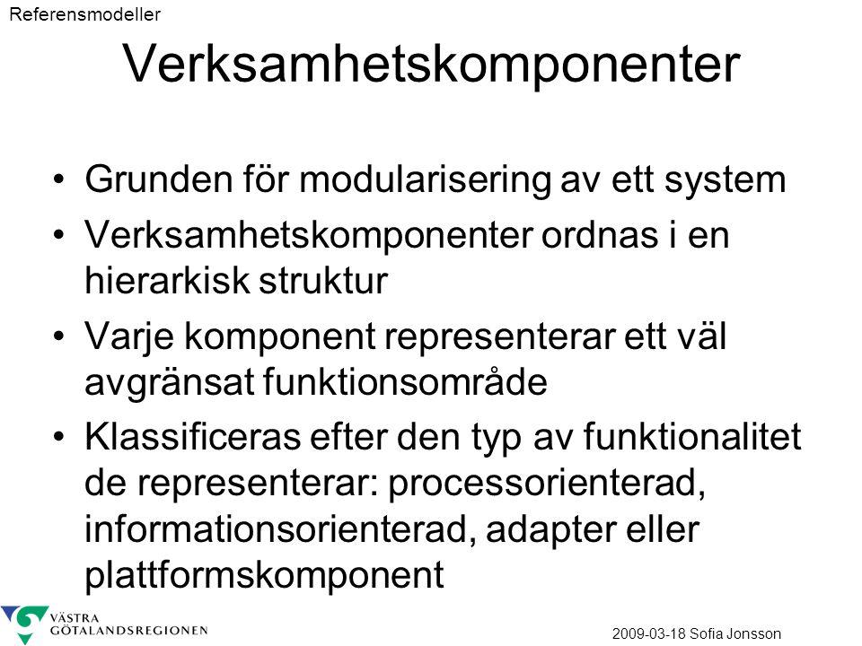 2009-03-18 Sofia Jonsson Verksamhetskomponenter Grunden för modularisering av ett system Verksamhetskomponenter ordnas i en hierarkisk struktur Varje komponent representerar ett väl avgränsat funktionsområde Klassificeras efter den typ av funktionalitet de representerar: processorienterad, informationsorienterad, adapter eller plattformskomponent Referensmodeller