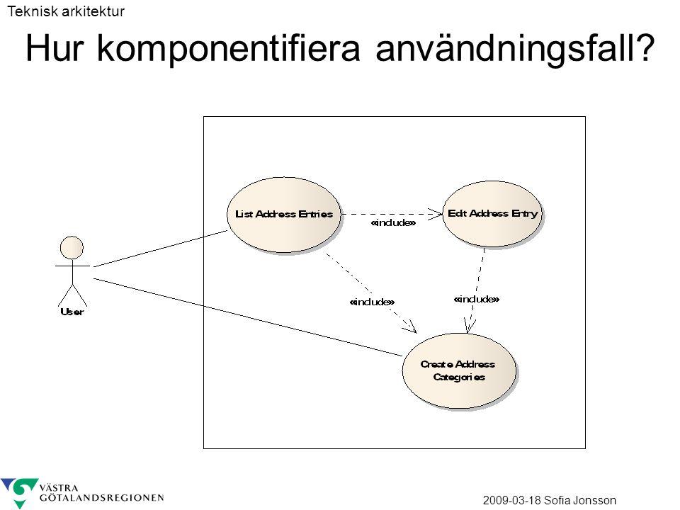 2009-03-18 Sofia Jonsson Hur komponentifiera användningsfall? Teknisk arkitektur