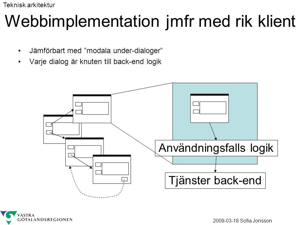 2009-03-18 Sofia Jonsson Webbimplementation jmfr med rik klient Jämförbart med modala under-dialoger Varje dialog är knuten till back-end logik Användningsfalls logik Tjänster back-end Teknisk arkitektur