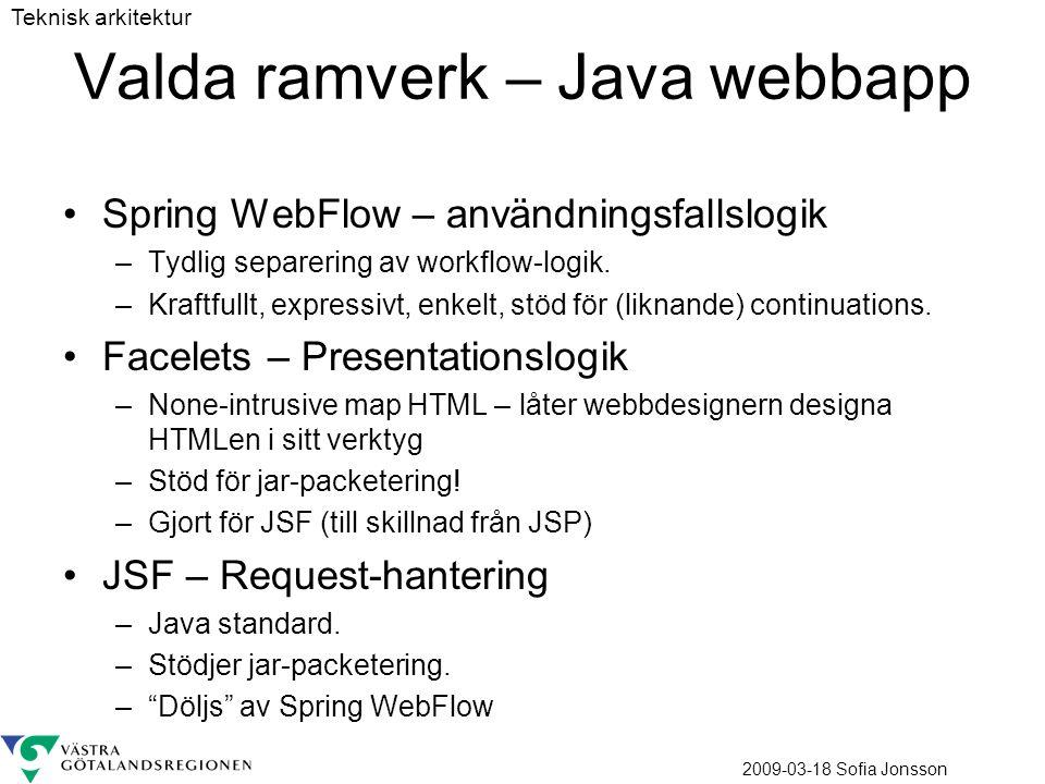 2009-03-18 Sofia Jonsson Valda ramverk – Java webbapp Spring WebFlow – användningsfallslogik –Tydlig separering av workflow-logik. –Kraftfullt, expres