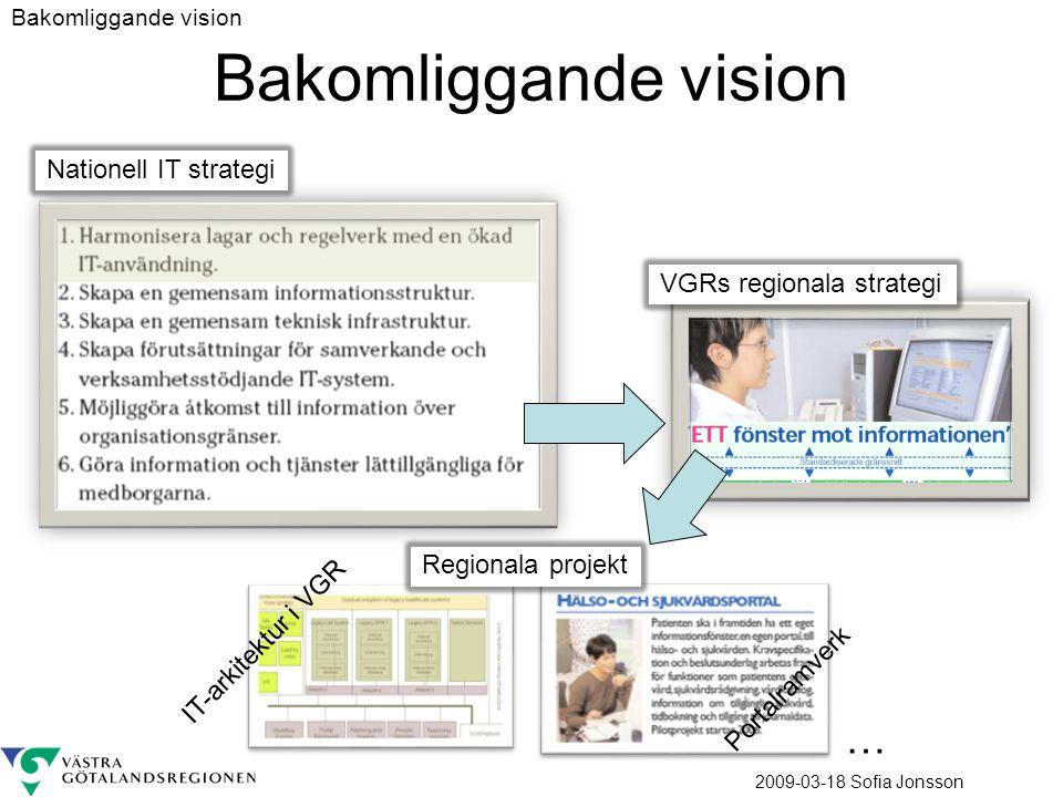 2009-03-18 Sofia Jonsson Bakomliggande vision Nationell IT strategi VGRs regionala strategi … Regionala projekt IT-arkitektur i VGR Portalramverk Bakomliggande vision