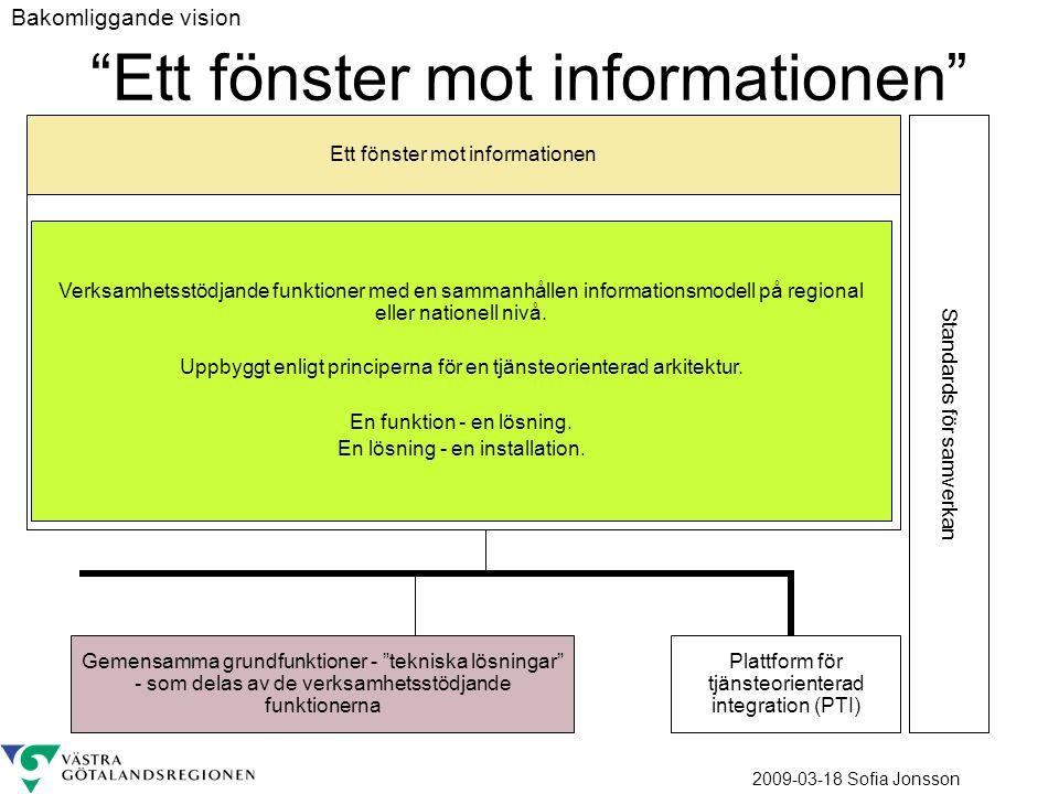 2009-03-18 Sofia Jonsson Ett fönster mot informationen Verksamhetsstödjande funktioner med en sammanhållen informationsmodell på regional eller nation
