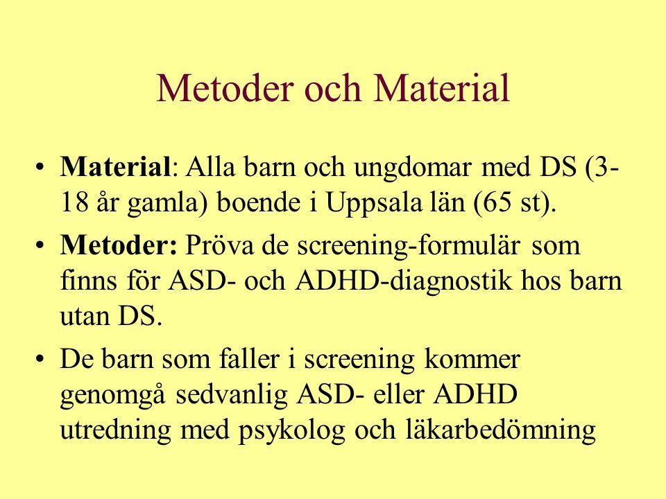 Metoder och Material Material: Alla barn och ungdomar med DS (3- 18 år gamla) boende i Uppsala län (65 st). Metoder: Pröva de screening-formulär som f